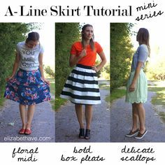 Elizabeth Avenue Blog: A-Line Skirt Series - Would love to make these for spring and summer!