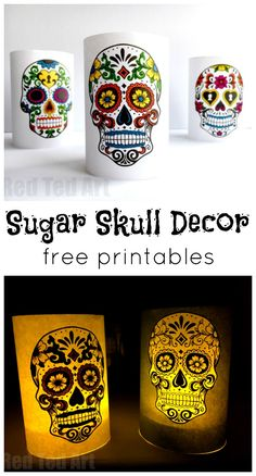 Paper Day of the Dead Luminaries - a great 5 minute craft. Have these Day of the Dead Sugar Skull Luminaries made in minutes. Either colour yourself, or use the coloured versions, for a super quick and easy Halloween decoration. Halloween Crafts For Kids To Make, Easy Halloween Decorations, Easy Crafts For Kids, Halloween Ideas, Teen Crafts, Halloween Halloween, Vintage Halloween, Halloween Makeup, Halloween Costumes