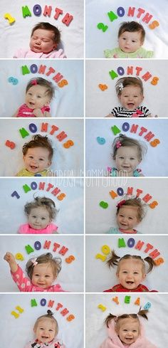Month-by-month development. What a great way to capture your baby's growth and development. Try out this creative monthly shoots – use felt letters, block letters or simply write her age on a card. Frame it for the nursery or use it as greeting card for grandparents.