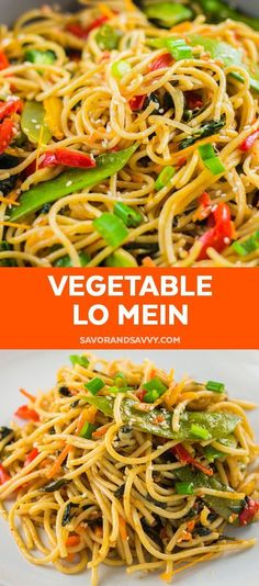 The Easiest 25 Minute Vegetable Lo Mein to Make Tonight {WW 6 Points, Vegetarian} Quick and easy vegetable lo mein recipe. This under 30 minute meal comes together quickly and will become one of your favorite homemade takeout recipes. via Savor + Savvy Vegetable Lo Mein, Vegetable Dishes, Vegetable Recipes, Vegetarian Recipes, Cooking Recipes, Healthy Recipes, Vegetarian Lo Mein, Vegetarian Diets, Veggie Meals