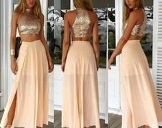 Cheap Prom Dresses 2017 Crop Top Sparkly Two Piece Champagne Sequins Long Prom Dress With Side Slit Two Piece Homecoming Dress, Prom Dresses Two Piece, Prom Dresses 2016, Prom Dresses For Teens, Formal Dresses For Women, Cheap Prom Dresses, Two Piece Dress, Prom Party Dresses, Prom Gowns