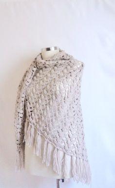 GREY SHAWL scarves handmade gift bolero shawl by modelknitting, $53.00