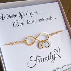 Initial Infinity Bracelet Christmas Gift by anatoliantaledesign