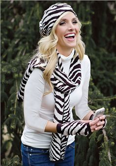 Check out this great gift I found in the MyRegistry Wish List community! Zebra Print Hat, Scarf & Gloves Set | Fabulous-Furs
