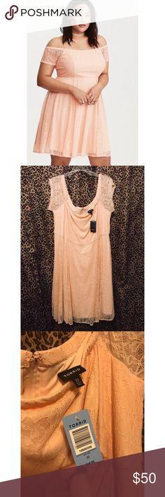 Torrid off shoulder blush lace soft pink dress Brand new with tags. Beautiful dress! Torrid Size 3 or 22/24 Torrid Dresses