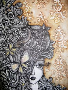 Zentangle Miss Autumn. by ~Ejvy Doodles Zentangles, Zentangle Patterns, Zen Doodle, Doodle Art, Tangle Art, Art Graphique, Whimsical Art, Art Projects, Drawing Projects