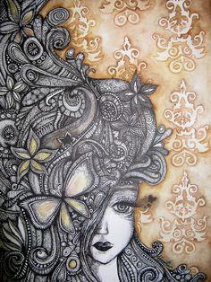 Zentangle    Miss Autumn. by ~Ejvy