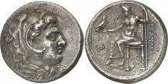 KINGDOM OF MACEDON. Alexander III, The Great (336-323 B.C.), Silver Dekadrachm, 42.28g,. Minted at Babylon, struck during the lifetime of Alexander, c.325-323 B.C. Head of young Herakles facing to right, wearing a lion's skin headdress. Rev. AΛEΞANΔPOY , Zeus, naked to waist, his left foot resting on a footstool, enthroned to left, holding an eagle in his outstretched right hand and a sceptre in his left, a small bee in the left field, a monogram and M below the throne