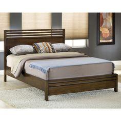 Modern Wood Veneer Slatted Platform Bed