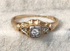 Antique Art Deco 14Kt Two Toned Gold 3 Diamond Engagement Wedding Anniversary Ring Size 6.25 by AdornedInHistory on Etsy