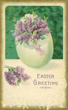 Vintage Easter Postcard — lilacs in egg Easter Art, Easter Bunny, Easter Decor, Easter Ideas, Vintage Easter, Vintage Holiday, Vintage Greeting Cards, Vintage Postcards, Fete Pascal