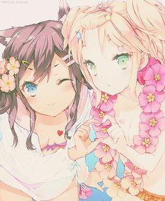 #AnimeGirl #Friends #Kawaii #Flower #Summer