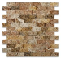"""Premium (SELECT) Quality 1"""" X 2"""" SCABOS TRAVERTINE BRICK MOSAIC TILE SPLIT-FACED, Shower, Backsplash, Bathroom, Kitchen, Decorative, Floor, Wall, Ceiling, Powder Room, Deck & Patio, Countertop, Commercial and Residential (Interior & Exterior), Indoor, Outdoor"""