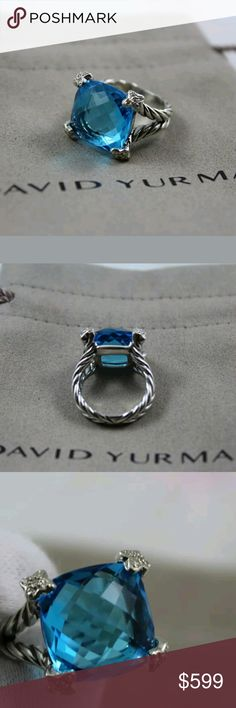 David Yurman cushion on point ring David Yurman cushion on point ring with blue topaz 15mm and diamonds 0.10 total carat weight, ring 5-16mm wide . ring size 7,  like new condition. included David Yurman pouch bag. This is so gorgeous David Yurman Jewelry Rings