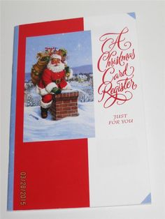 Holiday Santa Clause Christmas Register by Carlton Cards - Unused