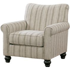 Showcasing rolled arms and striped upholstery, this handsome arm chair brings sophisticated style to your living room or library.Features: