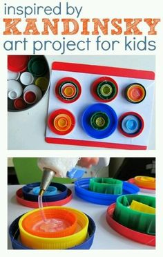 Recycled Art Kadinsky Art Project  if any of my daycare parents have lids would love to have for the kids