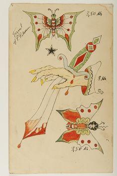 Old School Sailor Tattoo Sjöhistoriska museet Dragon Tattoo Back Piece, Dragon Sleeve Tattoos, Vintage Tattoo Design, Vintage Tattoos, Antique Tattoo, Sailor Jerry Flash, Tattoo Museum, Sailor Jerry Tattoos, Old School Tattoo Designs