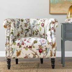 Three Posts Huntingdon Chesterfield Chair Upholstery Color: Creamy Ivory Multi Floral with Birds, Leg Color: Dark Brown Wayfair Living Room Chairs, Living Room Furniture, Steel Furniture, Ikea Furniture, Industrial Furniture, Living Rooms, Furniture Buyers, Furniture Removal, Furniture Online
