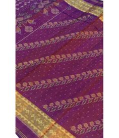 Purple Rajkot Patola Ikat Silk Saree with Zari border