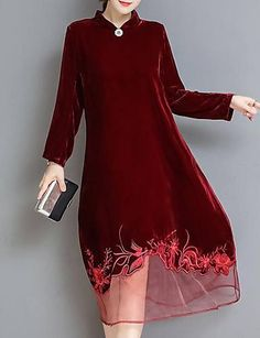 Women's Going out Velvet Loose / Swing Dress - Solid Colored Stand Fashion Details, Fashion Design, Velvet Fashion, Indian Designer Wear, Pakistani Dresses, Swing Dress, Girly Girl, Dress Patterns, Designer Dresses