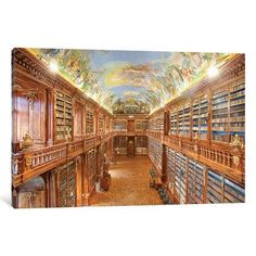 East Urban Home The Philosophical Hall, Library, Strahov Monastery, Prague, Czech Republic Photographic Print on Wrapped Canvas Size: