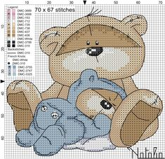 Cross-stitch Fizzy Moon baby sleep blue