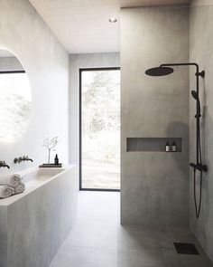 """Minimal Mess on Instagram: """"The giant window, the double faucet but one sink, the round inset mirror. Just, everything 😍"""" Bad Inspiration, Bathroom Inspiration, Interior Inspiration, Interior Simple, Small Bathroom, Bathroom Bath, Bath Tubs, Bathroom Colors, Master Bathroom"""