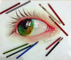 Eye Color Pencil drawing by Joelcolo http://webneel.com/25-beautiful-color-pencil-drawings-valentina-zou-and-drawing-tips-beginners | Design Inspiration http://webneel.com | Follow us www.pinterest.com/webneel