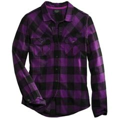 Harley-Davidson Women's Buffalo Long Sleeve Plaid Shirt, Purple... ❤ liked on Polyvore featuring tops, shirts, flannels, plaid, purple top, plaid top, purple long sleeve shirt, long-sleeve shirt and purple shirt