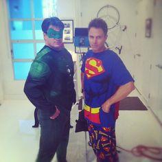 Nathan Fillion, Tim Daly in superhero pjs.