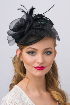 Black Fascinator Kate Mesh Couture English Hat by PippaAndPearl
