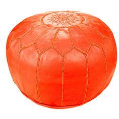 Moroccan Leather Pouf Ottoman Upholstery Color: Blood Orange - http://delanico.com/ottomans/moroccan-leather-pouf-ottoman-upholstery-color-blood-orange-602189808/