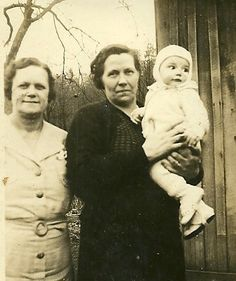 Grandma Fay holding my brother, Jim; 1936.  Suspect the third person to be my Great Aunt Wildas.