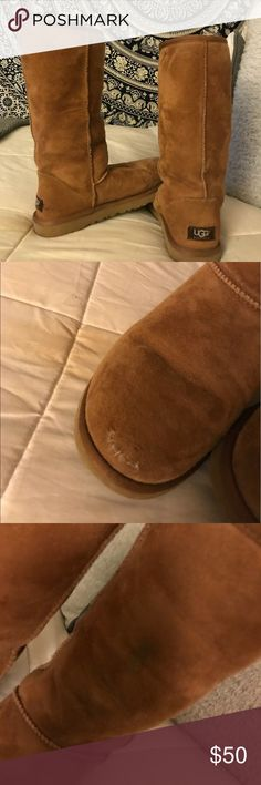 Tall tan uggs! Photos of damage listed, small rip in suede which I tried to sew myself, but if taken to a dry cleaner they can be easily repaired! Stain on middle of boot but blends in with material so it isn't that noticeable. Purchased with flaws but was too lazy to fix them myself, in need of loving home!   Feel free to message me any questions regarding extra photos, sizing, modeling, & price! UGG Shoes Winter & Rain Boots