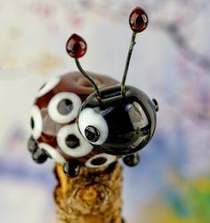 Simone... lampwork beetle bug bead by DeniseAnnette on Etsy