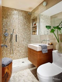 Stone mosaic tile on the shower's back wall draws your eye as soon as you enter the bathroom. Enclosed by glass, this small, but functional shower seems boundless.
