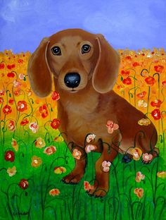 Fifi in Poppy Flowers, Original Dachshund Dog Painting 18x24.