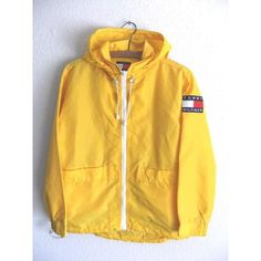 90s Tommy Hilfiger Anorak Raincoat Club Kid Yellow Textured Parka with... ❤ liked on Polyvore featuring men's fashion, men's clothing, men's outerwear, men's coats, mens anorak jacket, mens yellow sport coat, mens raincoat, mens anorak and mens mac coat
