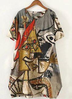 Kleider - $40.99 - Baumwollmischungen Charakter kurze Ärmel Mini Lässige Kleidung Kleider (1955122473)