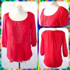ZARA Crimson Boho Peasant Top Sz S or 2/4 Cute boho peasant top from Zara with appliqué detail at the chest. 3/4 length sleeves and tuxedo pleat detail at the nape and front hem. Light cotton gauze fabric with loose fit and eyelet lace detail at the waist. Size S or 2/4.   **Bundle with Another Item to Get 15% Off Automatically!** Zara Tops Blouses