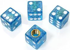"Amazon.com : (4 Count) Cool and Custom ""Cube Playing Dice with Easy Grip Design"" Tire Wheel Rim Air Valve Stem Dust Cap Seal Made of Hardened Rubber {Sparkly Lexus Blue and White Colors - Hard Metal Internal Threads for Easy Application - Rust Proof - Fits For Most Cars, Trucks, SUV, RV, ATV, UTV, Motorcycle, Bicycles} : Sports & Outdoors"