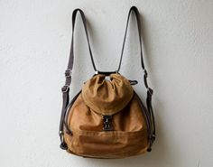 wax canvas backpack purse 1904 PACK med - canvas and leather crossbody bag - waxed canvas convertible backpack - shoulder bag