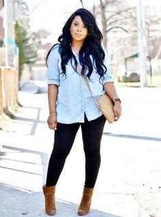 My Voguish Diaries Woc Fashion Blogger Chambray Shirt Street Style Short