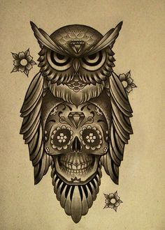 """Loving owls right now and this has another love of mine """"skull"""" awesome idea for a tattoo"""