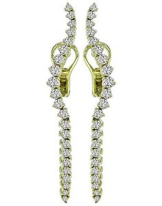 Estate Round Cut Diamond 14k Gold Earrings By Jose Hess Cuts