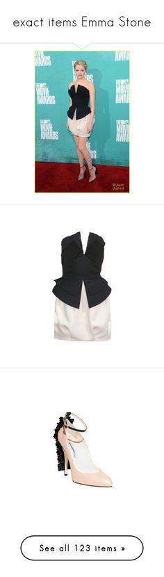 """exact items Emma Stone"" by marilia13 ❤ liked on Polyvore featuring emma stone, dresses, edit, vestidos, shoes, heels, платья, azure, chiffon dress and sleeveless chiffon dress"