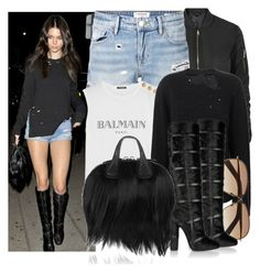 """""""Kendall Jenner"""" by justadream133 ❤ liked on Polyvore featuring Topshop, Frame Denim, Balmain, Agnona, Givenchy and Tom Ford"""