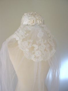vintage cathedral veil / 1960s Priscilla of Boston by AndEtcCo, $210.00