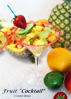 This fruit cocktail is for adults only! Cut up seasonal fruit with a touch of rum, a little sugar & zest for a tasty, almost healthy fruit cocktail dessert. Cocktail Desserts, Holiday Drinks, Cocktails, No Bake Desserts, Delicious Desserts, Pineapple Rum, Slice Of Lime, Red Food Coloring, Lime Wedge